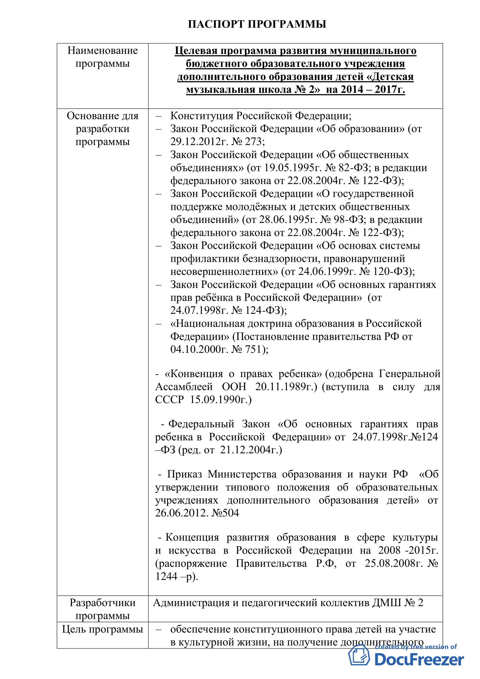Программа развития ДМШ №2 на 2014- 2017 годы_2